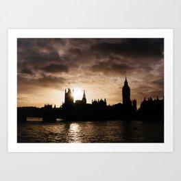 View over Westminster, Big Ben, London at Sunset Art Print