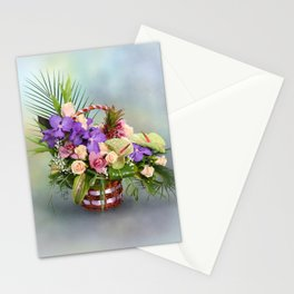Bouquet with colorful flowers in basket Stationery Cards