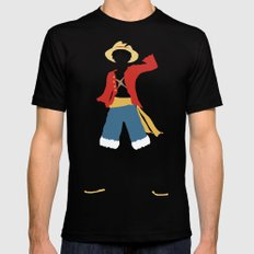 Monkey D Luffy Black LARGE Mens Fitted Tee