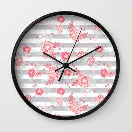 Elli - gender neutral florals grey stripe pattern modern nursery home decor Wall Clock