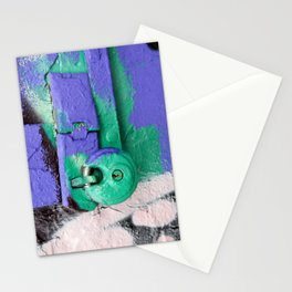 Purple and green lock Stationery Cards