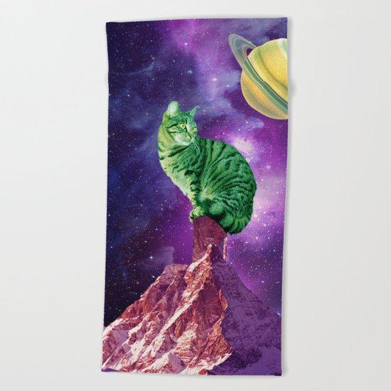 saturn cat Beach Towel