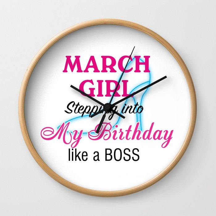 March Girl Birthday Wall Clock