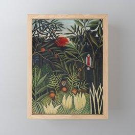 Monkeys and Parrot in the Virgin Forest (Singes et perroquet dans la forêt vierge) (ca. 1905–1906) b Framed Mini Art Print