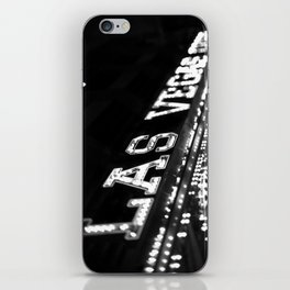 Vintage Las Vegas Sign - Black and White Photography iPhone Skin