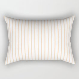 Soft Peach Pinstripe on White Rectangular Pillow