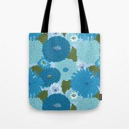 Retro Blue Floral Pattern Tote Bag