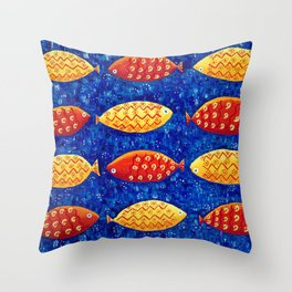 Red and Yellow Fish Throw Pillow