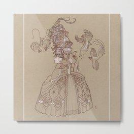 Baroque Bird Lady Metal Print