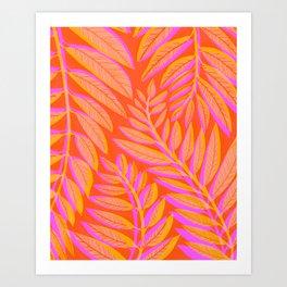 Hot Tropics II - Vertical Pink Orange Palette Art Print