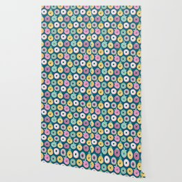 Undercover donuts // turquoise background pastel colors fruit donuts Wallpaper
