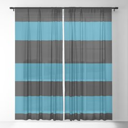 Primary Blue, Wishing Well Blue, Amazing Sky Blue, Blue to the Bone Hand Drawn Fat Horizontal Stripe Sheer Curtain