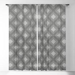 Pantone Pewter Gray Zigzag, Diamond Square Pattern Sheer Curtain