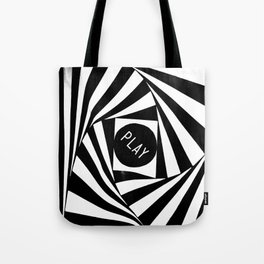 Black and White Twirl (Customizable Label) Tote Bag