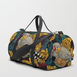 Zebra finch and rose bush Duffle Bag