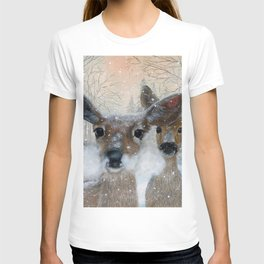Deer in the Snowy Woods T-shirt