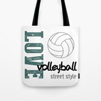 volleyball Tote Bags featuring Love Volleyball Street Style by raineon