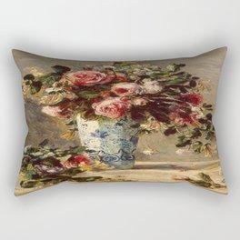 Pierre-Auguste Renoir's Roses and Jasmine in a Delft Vase Rectangular Pillow