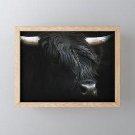 Minimalist Black Scottish Highland Cattle Portrait - Animal Photography Framed Mini Art Print
