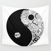 yin yang Wall Tapestries featuring yin yang by martiirod