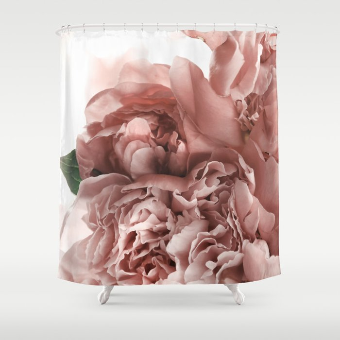 Blush Pink Floral Shower Curtain