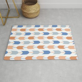 Southwestern Geometric Arrows in Stripes of Classic Blues and Muted Oranges Rug
