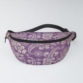 Golden Luxury Paisley on Purple Background Fanny Pack