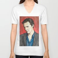 benedict V-neck T-shirts featuring Benedict by IamDeirdre