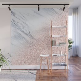 She Sparkles Rose Gold Pink Marble Luxe Geometric Wall Mural