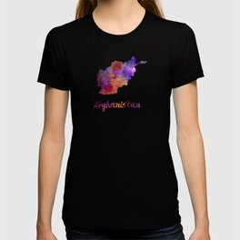 Afghanistan in watercolor T-shirt
