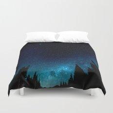 Black Trees Turquoise Milky Way Stars Duvet Cover