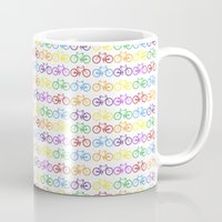 bicycles Mugs featuring Colorful Bicycles by MICHELLE MURPHY