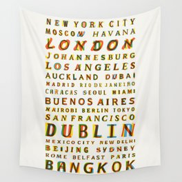Travel World Cities Wall Tapestry