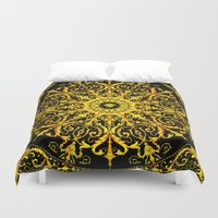 givenchy Duvet Covers featuring Versace Gold by Goldflakes