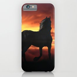 Horse kissed by the wind at sunset iPhone Case