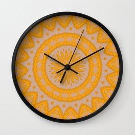 Orange Hearts And Flower Petals Wall Clock