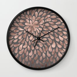 Rosegold- abstract floral elegant pattern on grey background Wall Clock