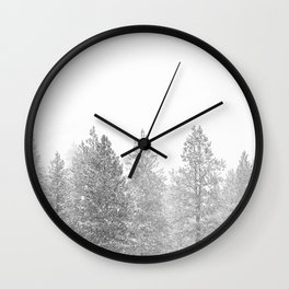 Snow Day // Black and White Winter Landscape Photography Snowing Whiteout Blizzard Wall Clock