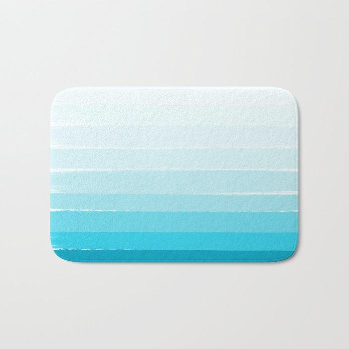 Isla - Ombre Brushstroke - Blue Turquoise, Bright, Summer, Tropical, Beach Ocean Bath Mat