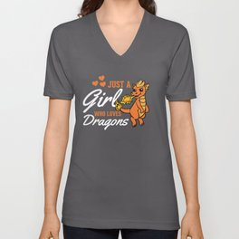 A Girl Who Loves Dragons Kids Children Unisex V-Neck