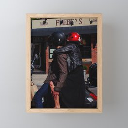Couple on a Stopped Motorcycle Framed Mini Art Print