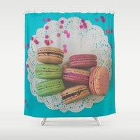 macarons Shower Curtains featuring Colorful Macarons by Jessica Torres Photography