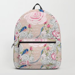 Watercolor Roses and Blush French Script Backpack