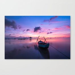 Rowboat and Sunrise on the Water Canvas Print