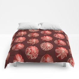Realistic easter red dyed eggs pysanka Comforters