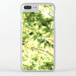 Bright Day-green leaves Clear iPhone Case