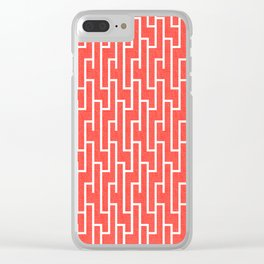 Red Aand White Latticework Pattern Clear iPhone Case