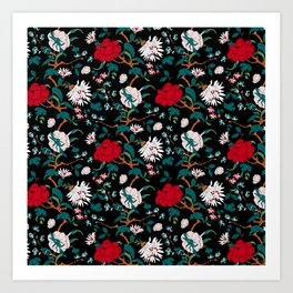branched, jacquard, looking floral and flowers pattern design Art Print
