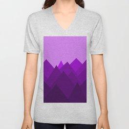 Abstract Purple Alien Landscape Unisex V-Neck