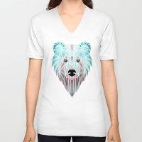 polar bear V-neck T-shirts featuring polar bear by Manoou